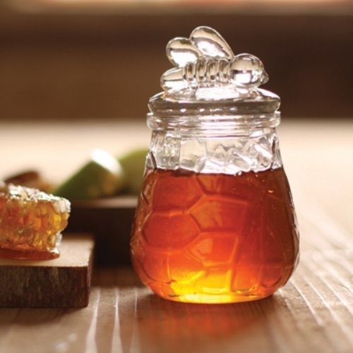 Clear Glass Sugar Honey Bowl With Bee Lid