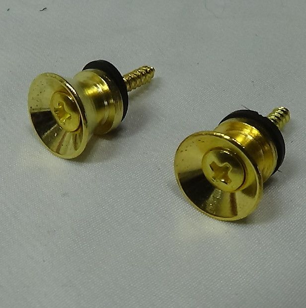 Set of 2 Gold  Strap buttons with mounting hardware for electric and acoustic guitars and bassThanks for shopping Manor Music Store.Set of 2 Gold  Strap buttons with mounting hardware for electric and acoustic guitars and bass