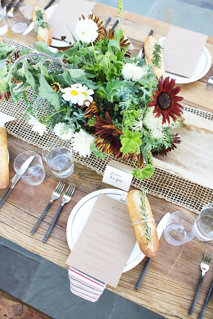 Fall tablescape setting for outdoor dinner party