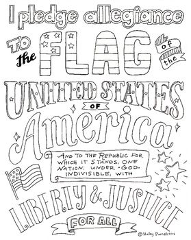 Pledge of Allegiance Coloring Page, Back to School, Hand Lettered