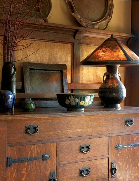 """arts and crafts wall paneling   Skeleton wainscot"""" with burlap between the wood battens was a ..."""
