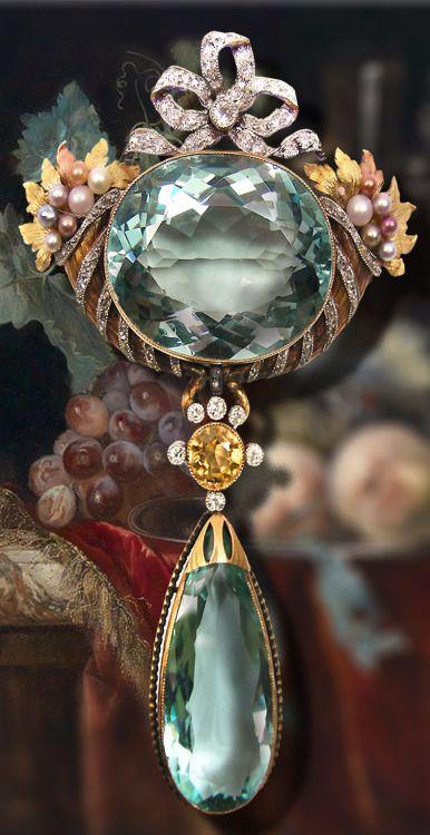 "anbenna: "" Antique aquamarine, diamond and pearl pendant brooch """