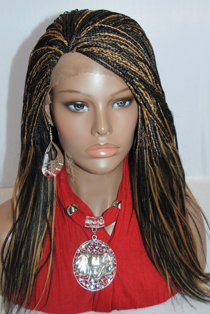 Fully Hand Braided Lace Front Wig Micro Braids Color 1b