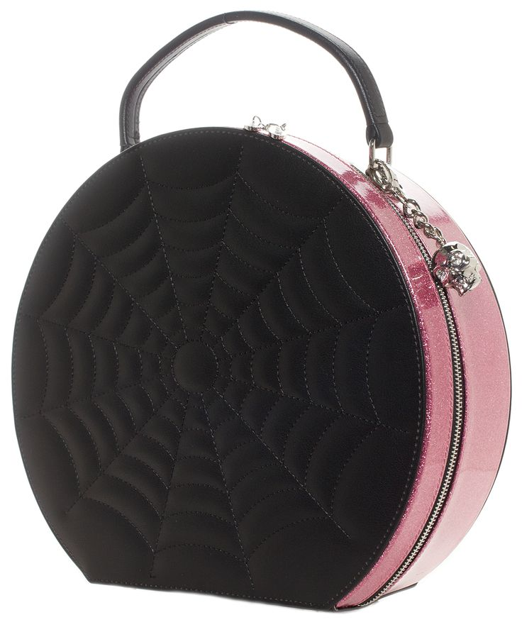LUX DE VILLE BLACK WIDOW HATBOX PURSE BLK/PINK SPARKLE - This breathtaking Black Widow Hatbox Purse is a necessary addition to any purse lover's collection. With the smooth black vinyl completed with spider web stitching and pink sparkly vinyl surrounding the zipper closure, this purse it beautifully unique. The inside features full black on black leopard print lining and an easy stash pocket. This purse is finished off with silver bullet feet, a top handle, and a detachable cross bo...