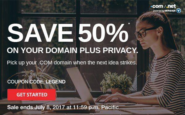 From now until July 08, you can get save up to 50% on new Com domain registrations and also domain privacy service too.