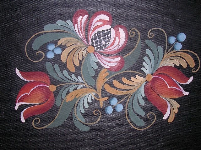 PENN DUTCH FLORAL ACRYLIC ON CANVAS by Jade Scarlett. traditional exuropean folk art.