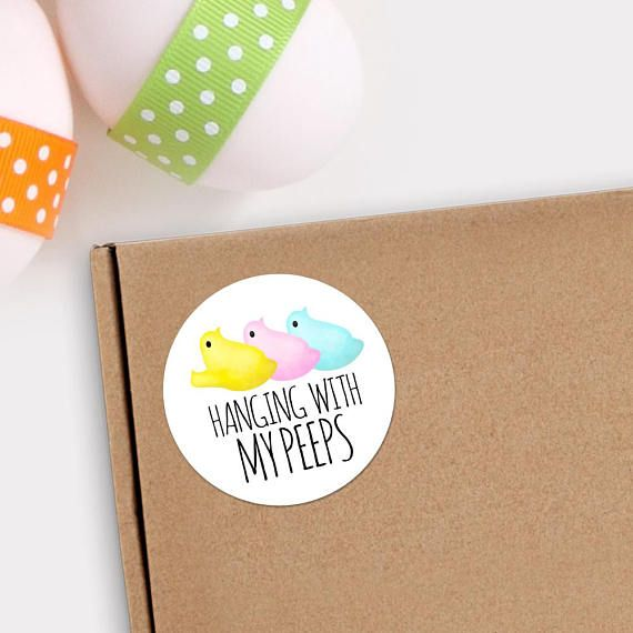 Happy Easter Stickers  1.625 x 1.625 Circles 24 Per