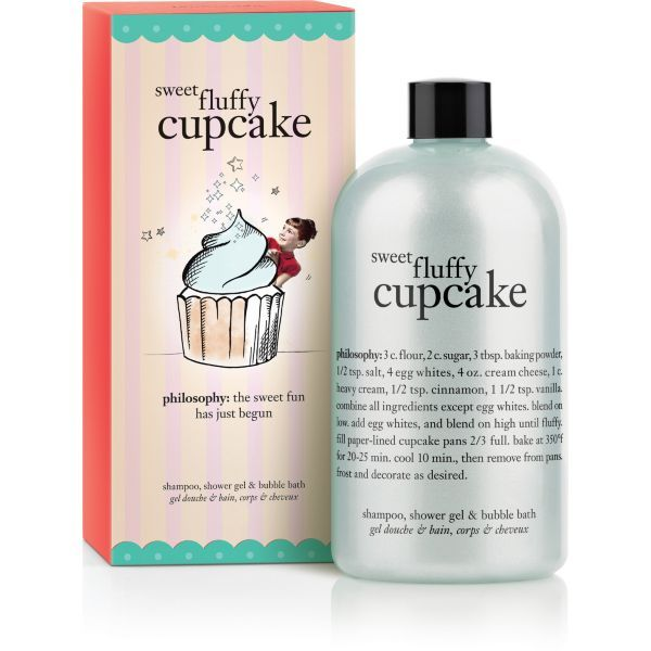Philosophy Fluffy Cupcake... After shower, both you and your shower will smell exactly like cupcakes! I use this with my Bath and Body Works Vanilla Frosting Body Cream and I smell like cupcakes for the whole day or night. I call this combo my cupcake day.