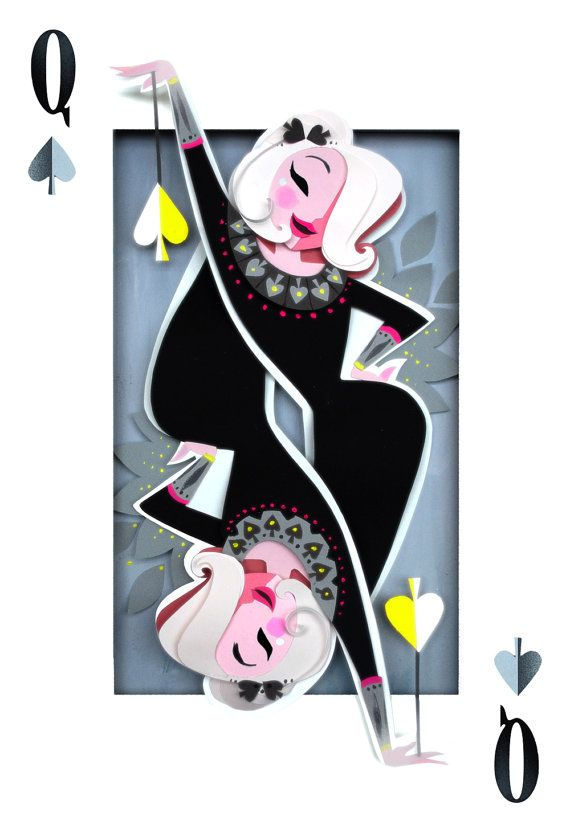 This blonde is not your typical Lady of Spades! The Queen of Spades print is a reproduction of an original cut-paper piece.    Printed with an Epson