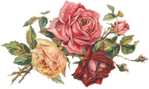 ShaBby TriPLe RoSeS BouQueT WaTerSLiDe DeCALs *VinTaGe ChiC*