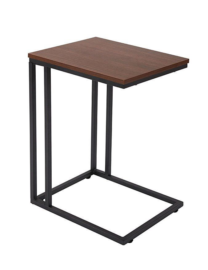 Fivegiven Accent Sofa Couch Side Table Slide Under For Living Room Wood And Metal Espresso Sofa Side Table Living Room Wood Side Table