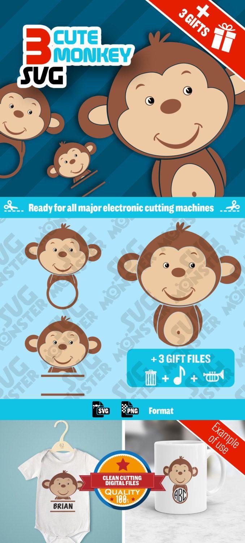 3 SVG MONKEY svg • Cut Files for Electronic Vinyl Cutter • png • Cricut Design Space, Silhouette Cute Animal kid Decoration • 047 de la boutique SVGmonster sur Etsy