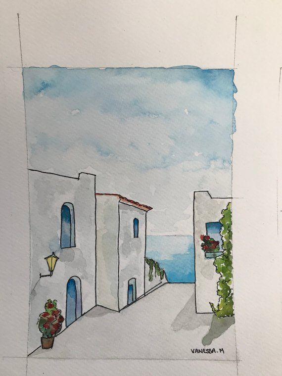 Watercolor landscape Greek
