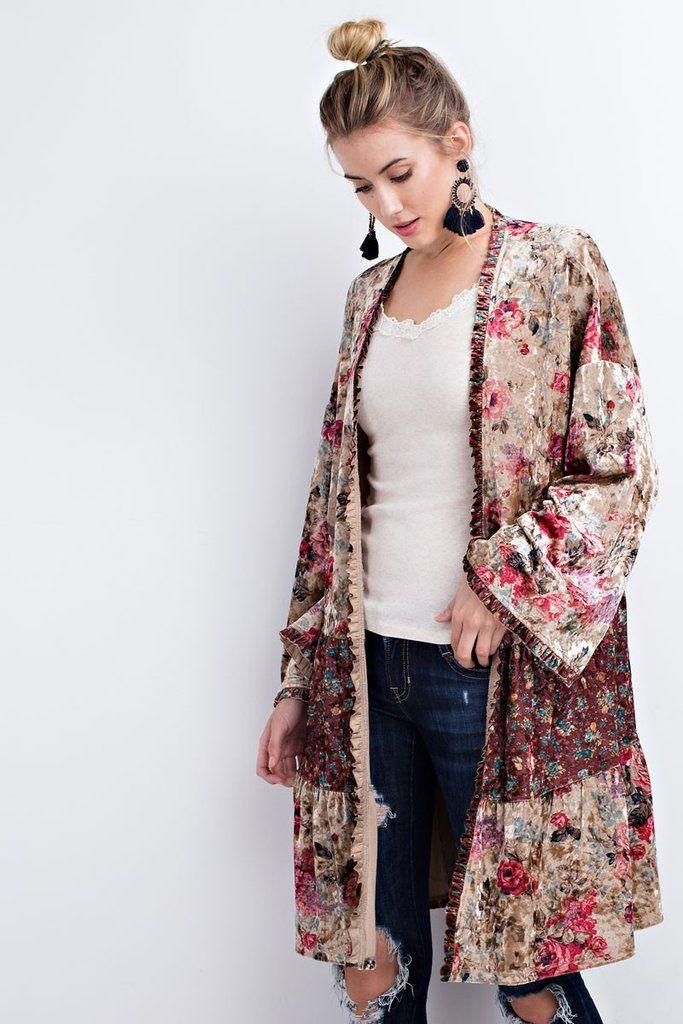 f22f91cf46d Printed Floral Velvet Kimono #emabethscloset #kimonos #fashion ...