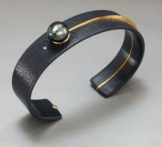 Cuff | David Butler. Oxidized sterling silver, gold, pearl