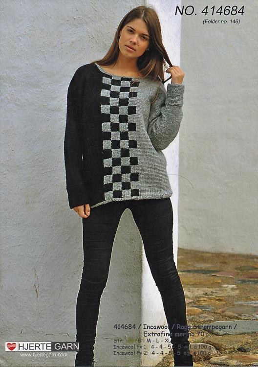 Sweater med skaktern , strikket i Inca Wool, eller Ragg strømpegarn, fra Hjertegarn, opskrift 414684 (hjertegarn414684)