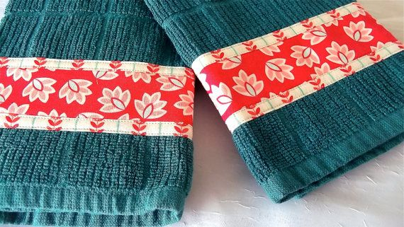 Lovely red!!! FOR SALE $15   Set of Two Aqua Cotton by WexfordTreasures