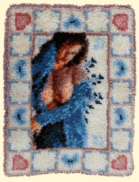 Whitney Lee - Latch-hook rug canvas and acrylic yarn