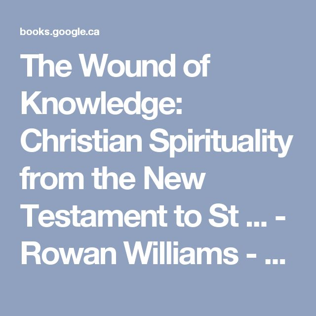 The Wound of Knowledge: Christian Spirituality from the New Testament to St ... - Rowan Williams - Google Books