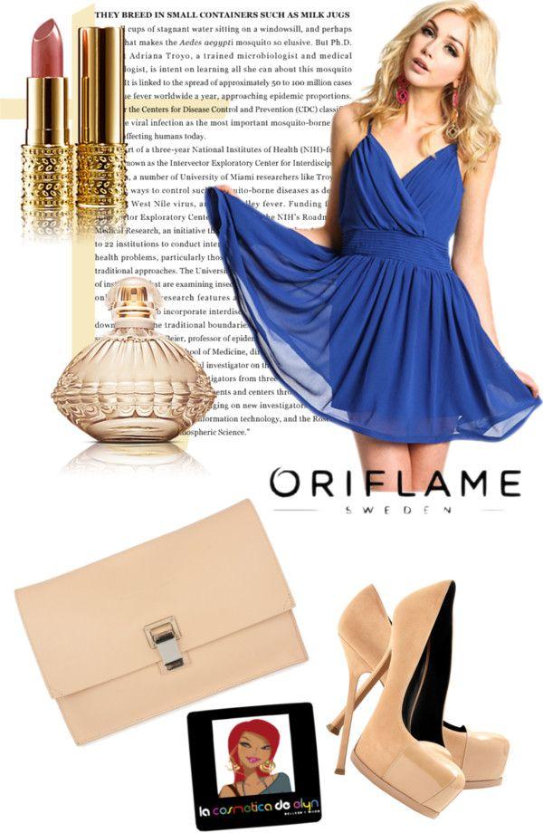 "Barra de Labios Jewel Giordani Gold Eau de Toilette Pretty Swan  ""Azul, Nude & Oriflame"" by lacosmeticadeelyn on Polyvore"