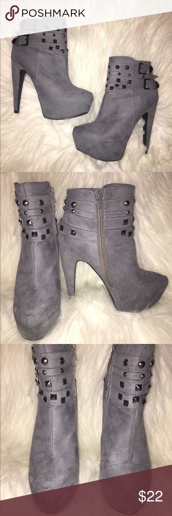 Shi by Journeys Grey High Heeled Savages Bootie Dark Grey High Heeled Bootie with rock stud embellishing's. Barely worn, slight mark on the right shoe but not noticeable by any means journeys Shoes Ankle Boots & Booties
