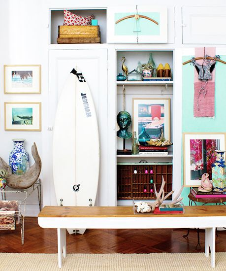 HANG TEN: 21 HOMES THAT PROVE SURF IS CHIC Surfboards aren't just for salty-bearded fellas — we're seeing them in the most stylish homes. - sanakeefer
