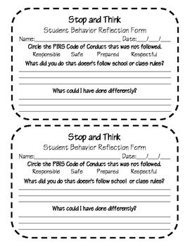 PBIS student behavior reflection form