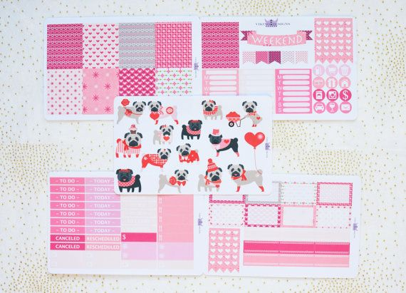 SALE! Pug Love valentines kit / weekly kit for Erin Condren