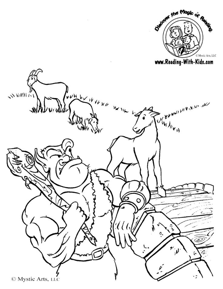 Three Billy Goats Gruff Coloring Sheet #FairyTale #FairyTales