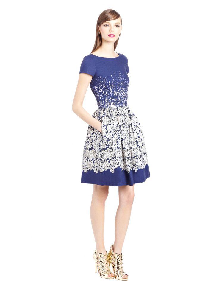 Oscar de la Renta - Guipure Lace Print Stretch Cotton Dress