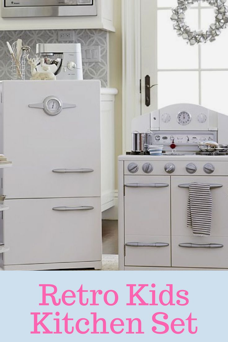 Retro Kids Kitchen Set from Pottery Barn. Great for toddler play. #ad
