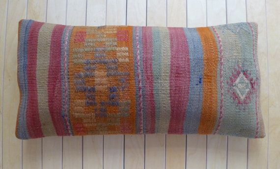 Lumbar Handmade vintage kilim Pillow cover by PillowTalkOnEtsy, $34.00
