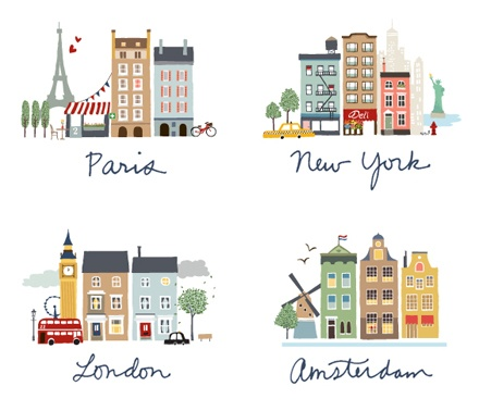 Nice city scape illustrations of Paris, New York, London and Amsterdam