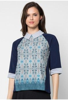Evelyn Collar Top from bhatara batik in blue and grey_1