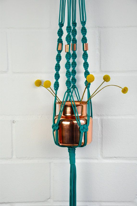 PETRA POMPADOUR Emerald Green Vintage Hanging Planter | Modern Macrame Planter | Plant Hanger | Minimalist Home Decor