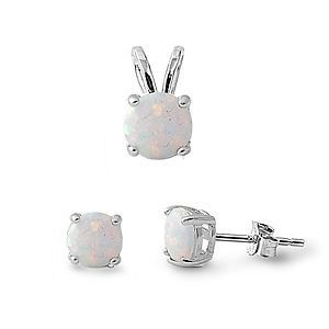 HAIMIS 2017 New Brand 7MM Round White Fire Opal Pendant And 6mm Opal Stud Earrings Silver  Wedding Jewelry Sets Free Shipping