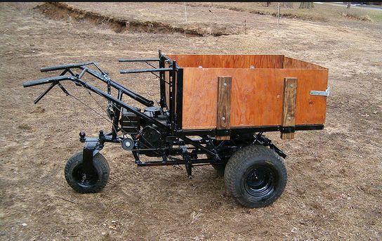Two pics of a homemade motorized wheelbarrow, w. some text explaining mechanism