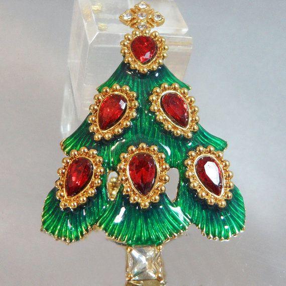 Vintage Christmas Tree Brooch Monet Red Rhinestones by waalaa, $22.99