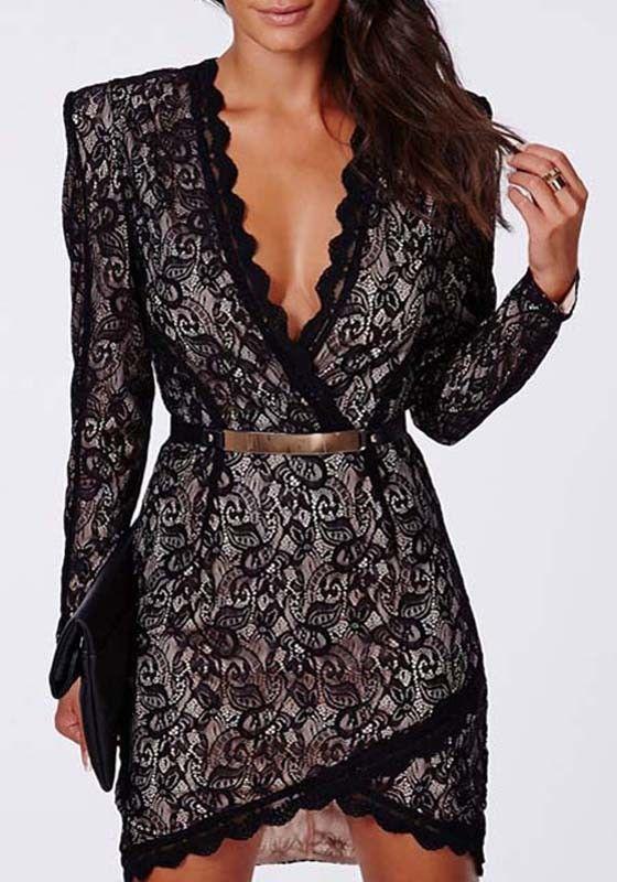 Black Floral Lace Belt Plunging Neckline Dress