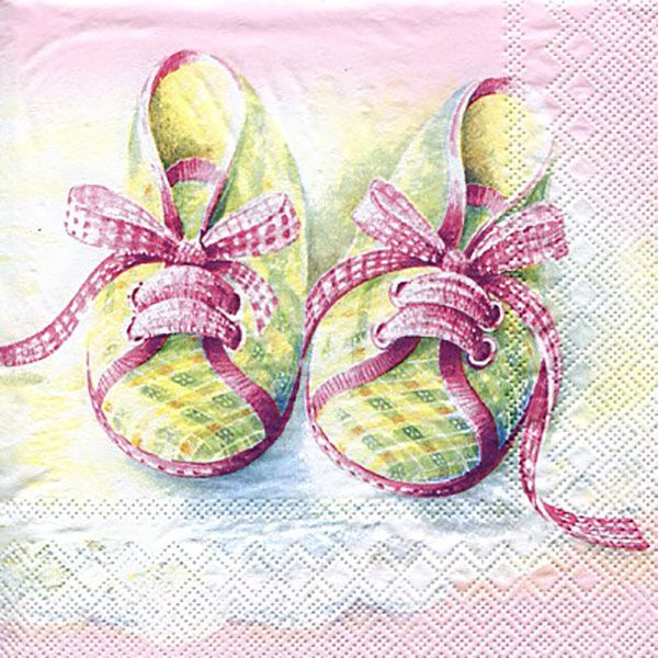 Serviett, 33x33 cm - Baby shoes, rose