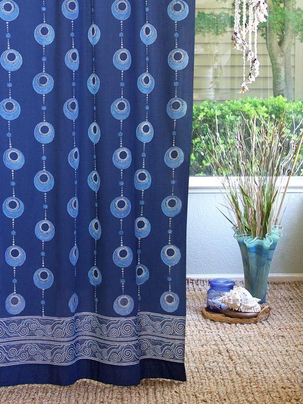 Celestial Embrace Blue Curtain Panel Coastal Decorating