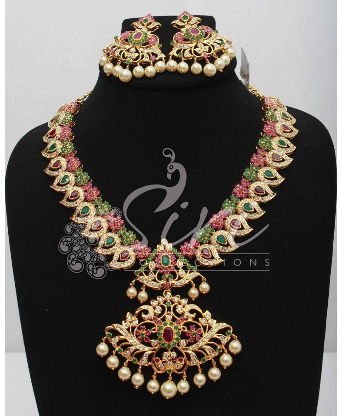 Buy Latest Model Designer Fancy AD Stone Necklace Set From Siricollections.