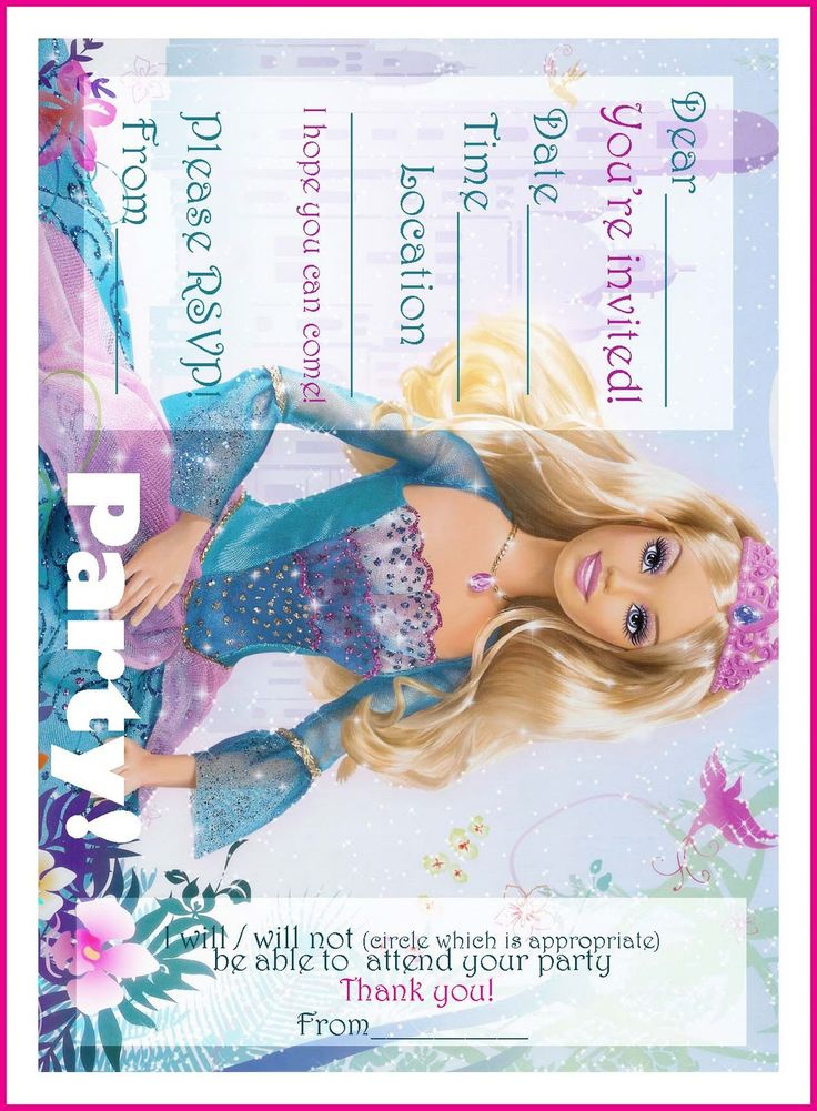 BARBIE COLORING PAGES: FREE PRINTABLE PRINCESS BARBIE BIRTHDAY PARTY INVITATIONS