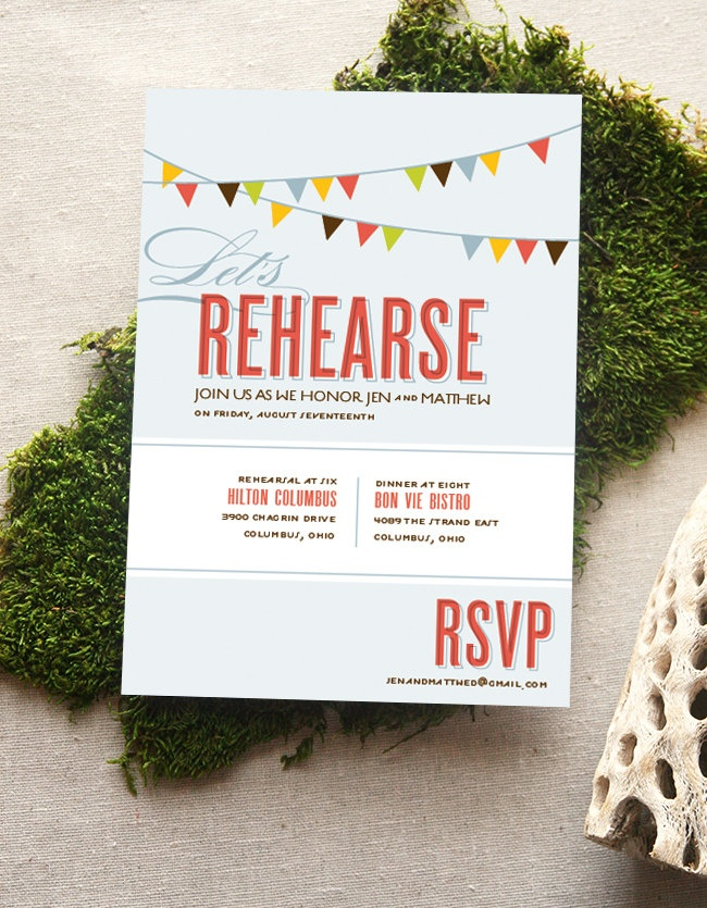 Rehearsal Dinner Invitation Bunting Flags 175 via