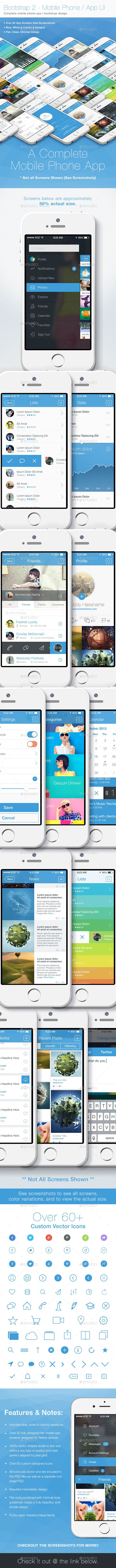 Bootstrap 2 - Flat Mobile Phone - App UI - User Interfaces Web Elements
