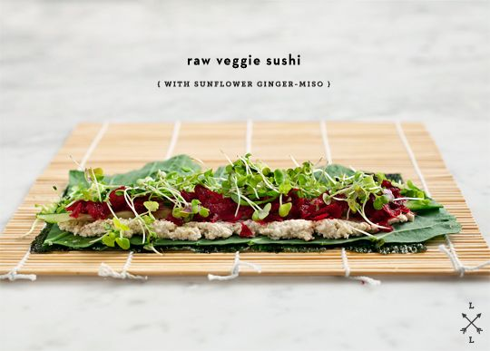 Clean Friendly Raw Veggie Sushi - just use brown rice vinegar, coconut nectar (or no sweetner) and tamari if you choose a dipping sauce.