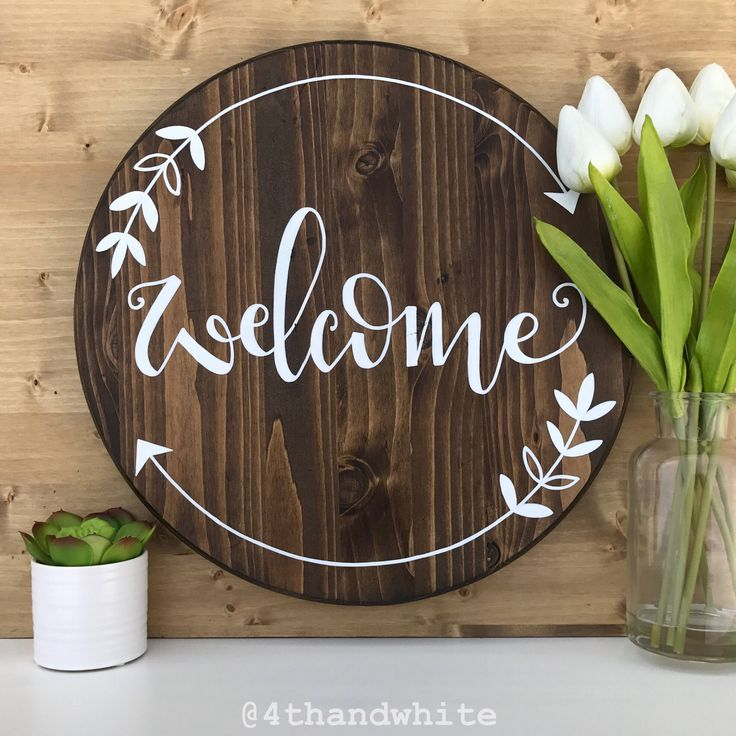 "Hand hand lettered 15"" wood round ""welcome"" by 4thandWhite on Etsy https://www.etsy.com/listing/510747634/hand-hand-lettered-15-wood-round-welcome"