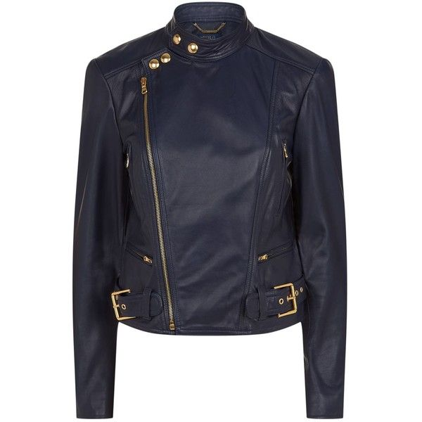 Polo Ralph Lauren Leather Biker Jacket ($940) ❤ liked on Polyvore featuring outerwear, jackets, leather jackets, floral jacket, stand collar leather jacket, genuine leather jackets and moto jacket