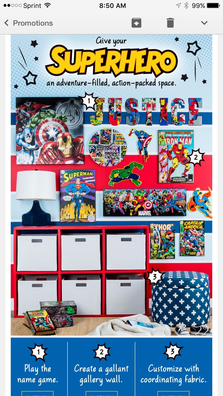 Superhero bedroom (hobby lobby ad). Like the tin letters covered with characters and the coordinating fabrics. Wall stripes more muted? -sem