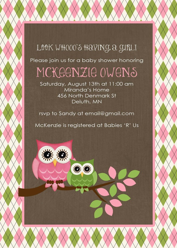 owl baby shower invitation owl first birthday baby girl shower argyle couples shower book baby invite item shabby chic invitations